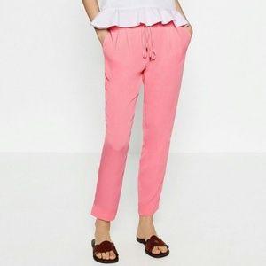 Zara Pink Drawstring Waist Trousers Pants XS